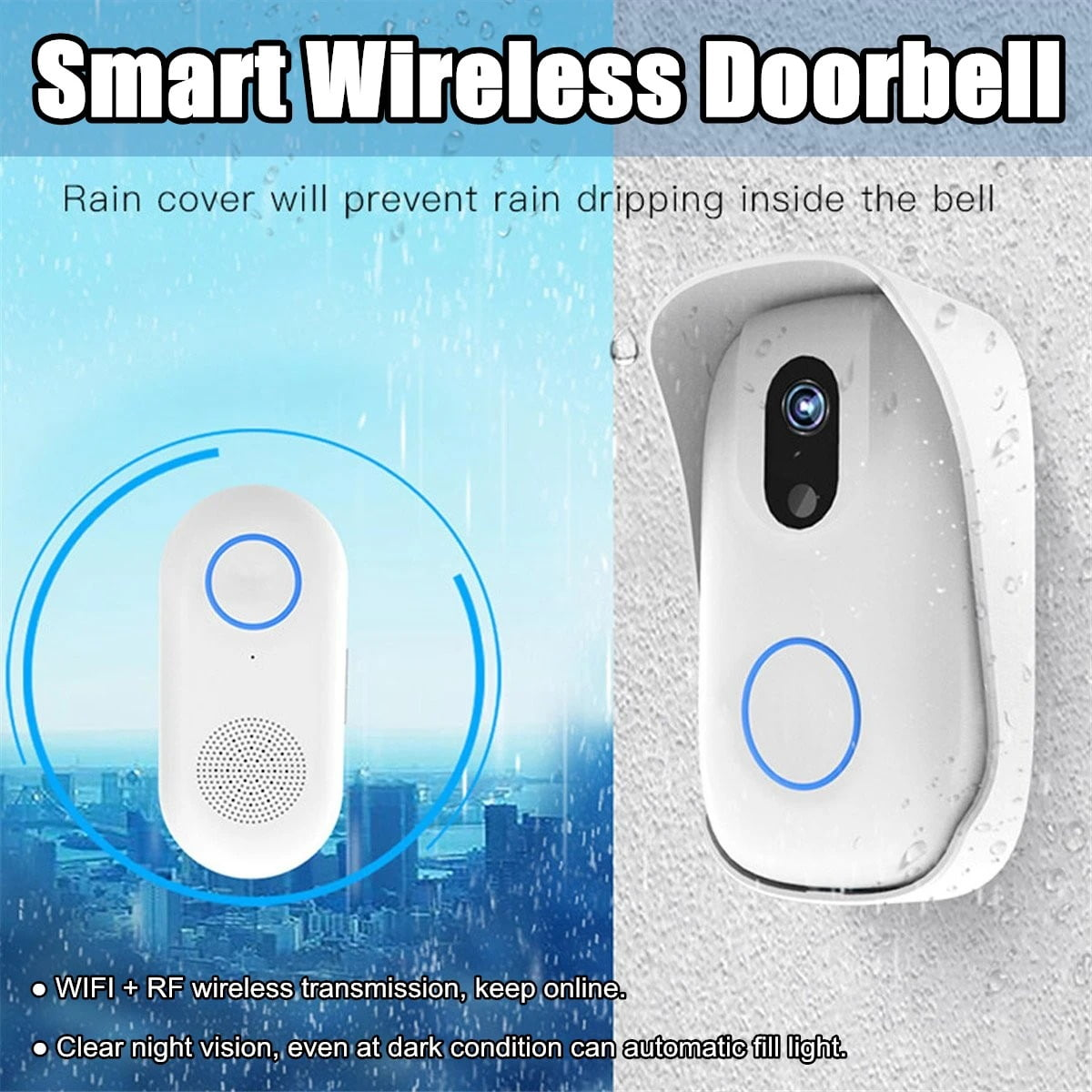 SH02 Smart Wireless Doorbell Lens Video HD Security Camera Night Vision App Control (17)